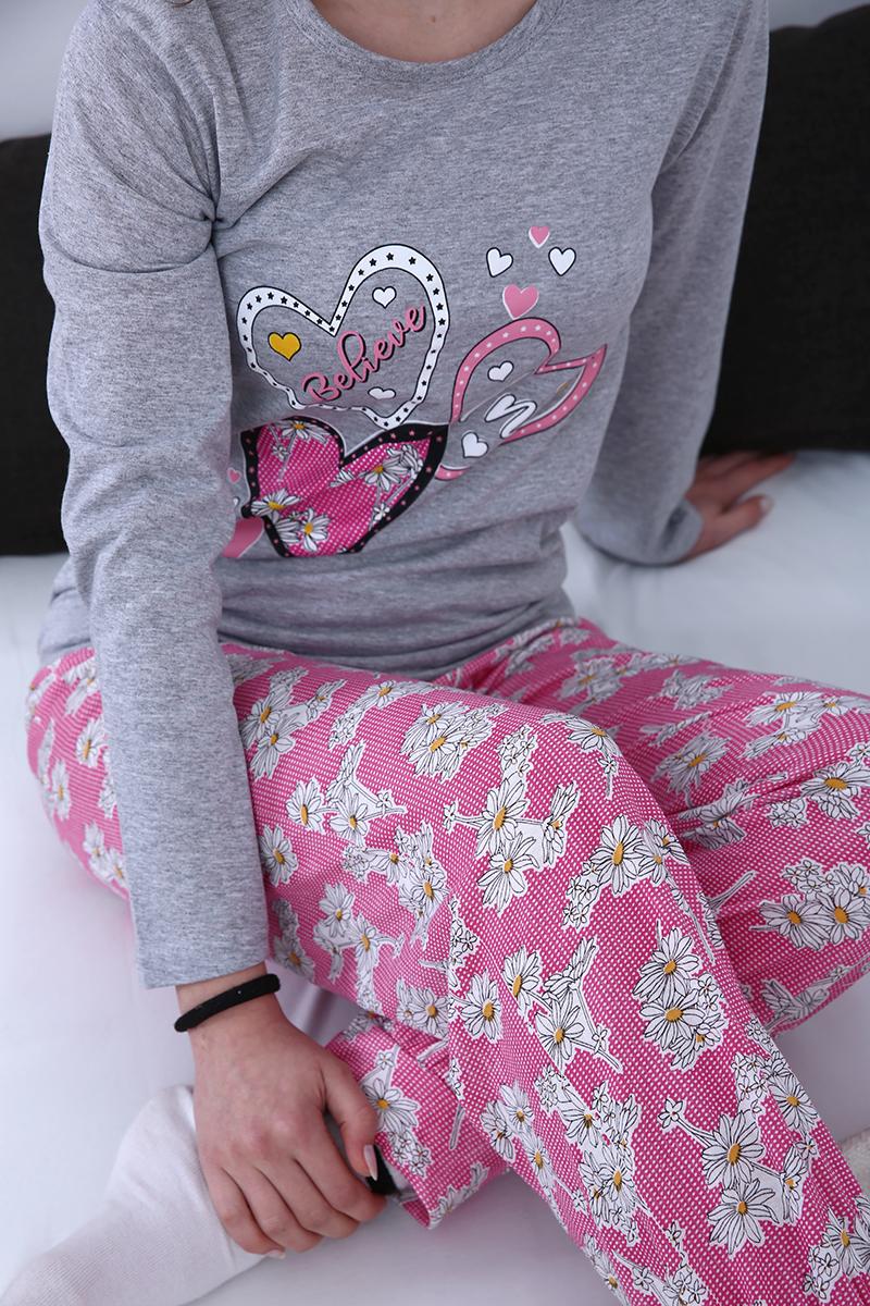 %100 Pamuk Desenli Pijama Takımı
