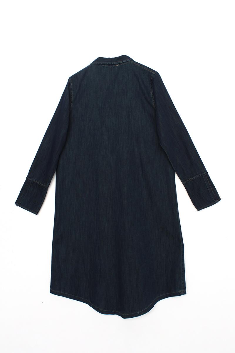 Yüksek Manşetli Kot Gömlek Tunik
