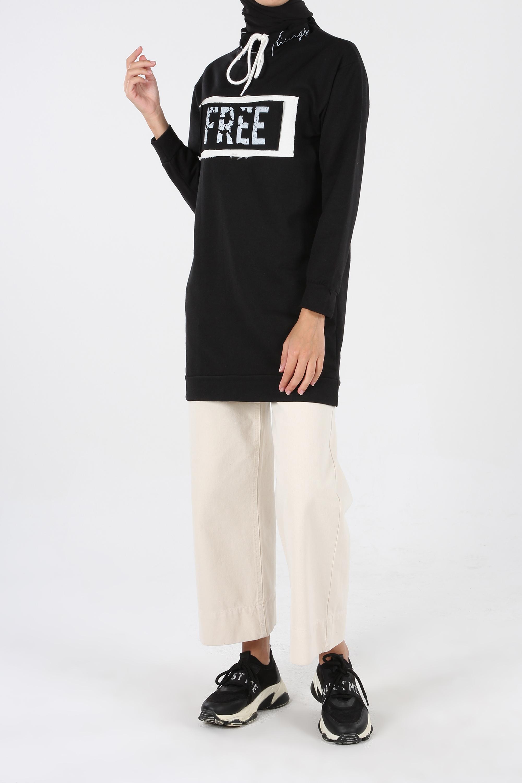 %100 Pamuklu Yakası Bağcık Detaylı Sweatshirt