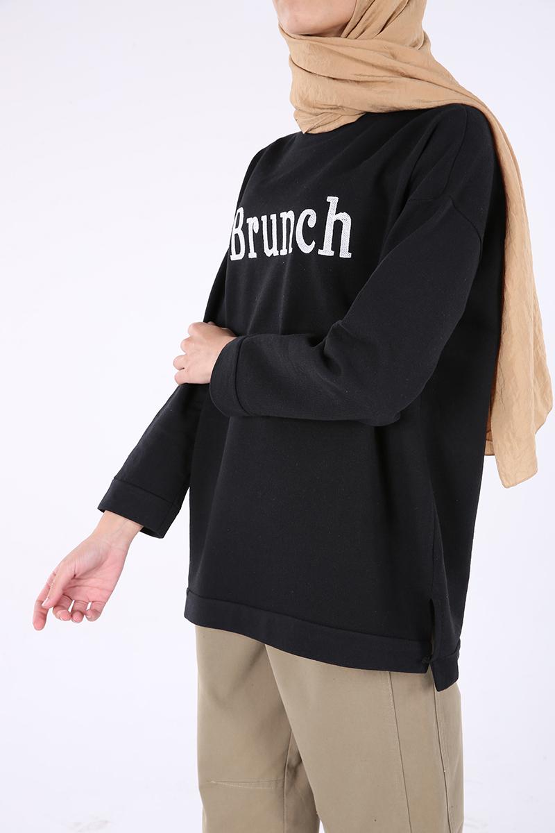 %100 Pamuklu Nakışlı Sweatshirt