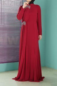 Taş Detaylı Abiye Elbise