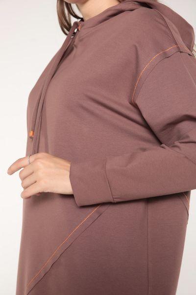 Kapüşonlu Ps Dikişli Bağcıklı Sweat Tunik