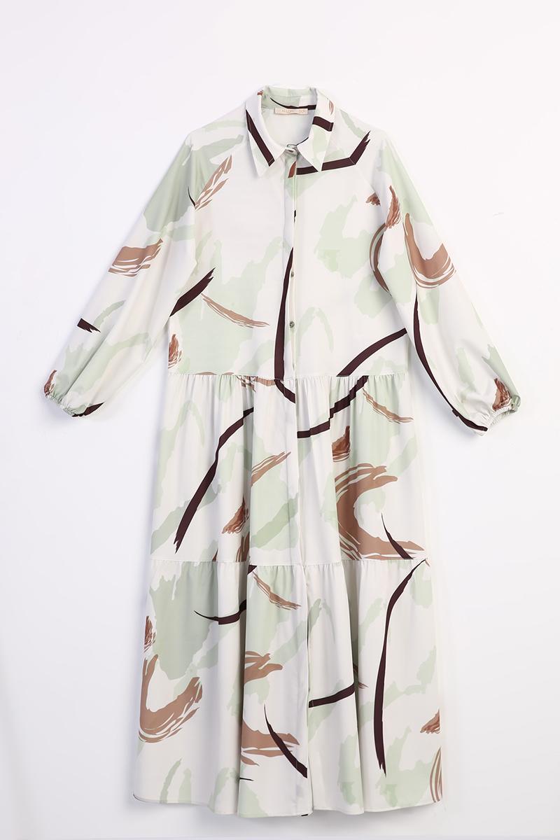 Baskı Desenli Düğmeli Elbise