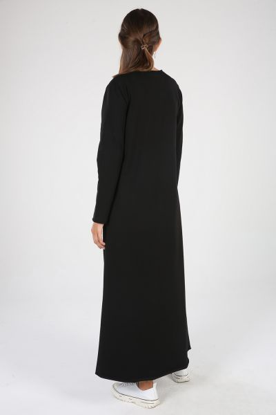 Pamuklu Çıtçıt Detaylı Baskılı Cepli Elbise