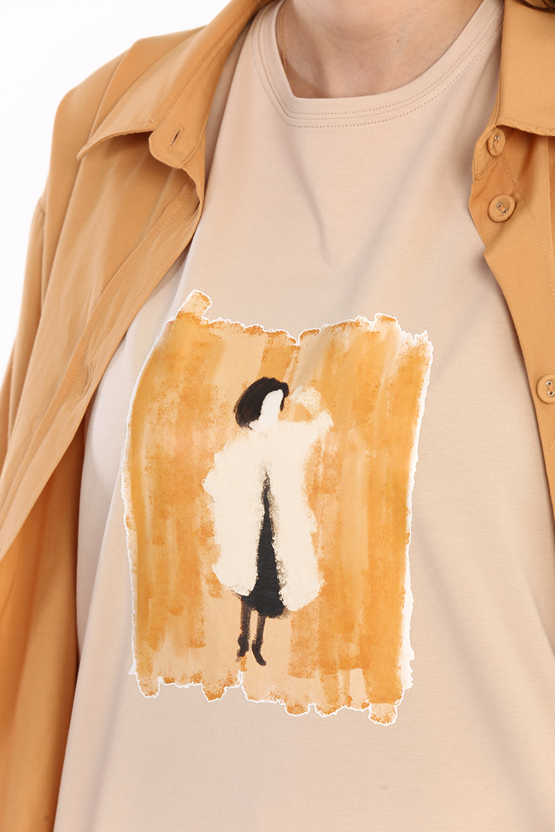 Baskılı Kolsuz T-Shirt Tunik