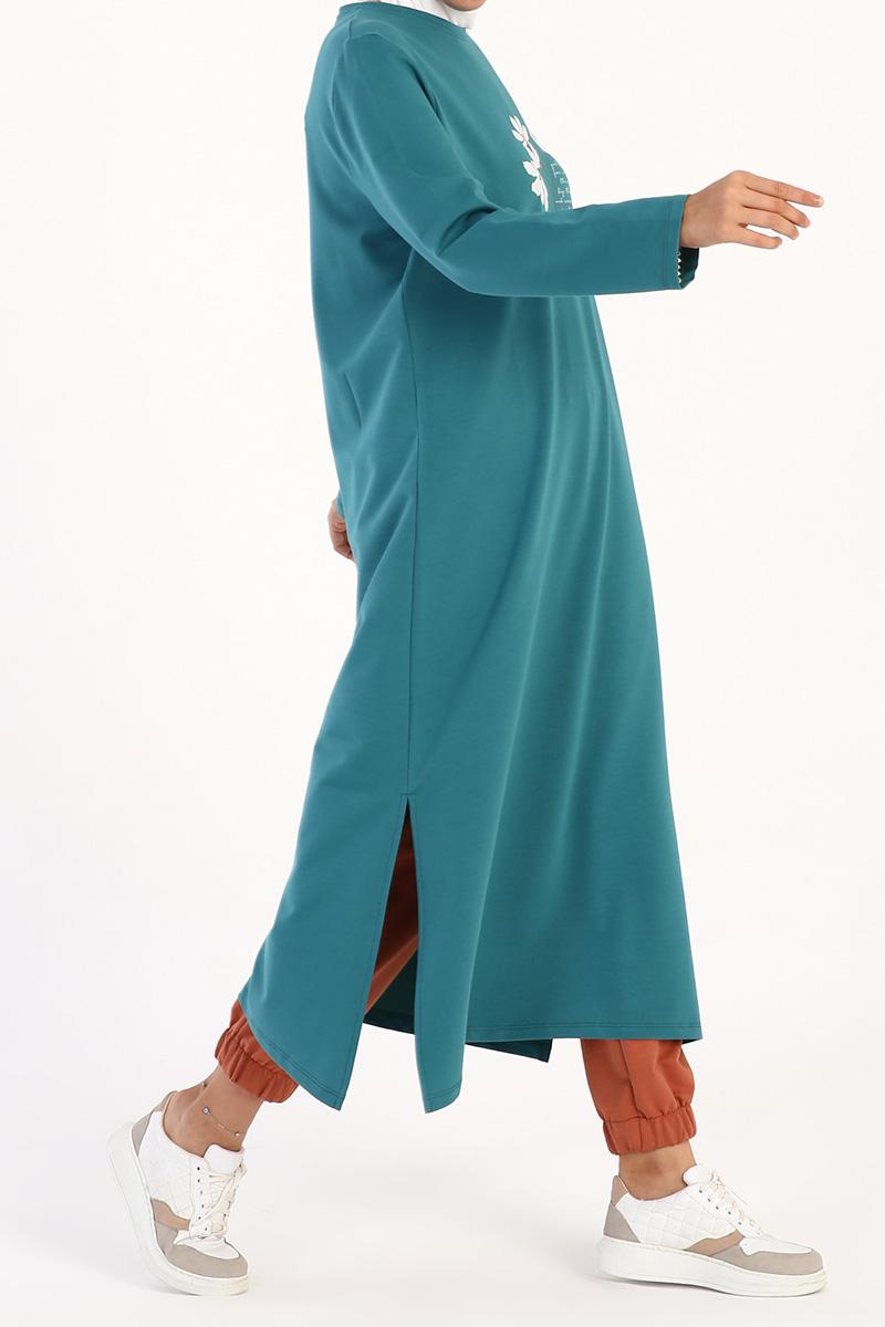 Baskılı Yırtmaçlı Uzun Tunik