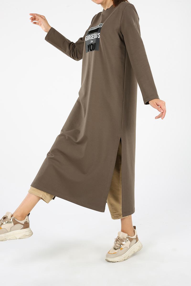 Baskılı Yırtmaçlı Elbise Tunik