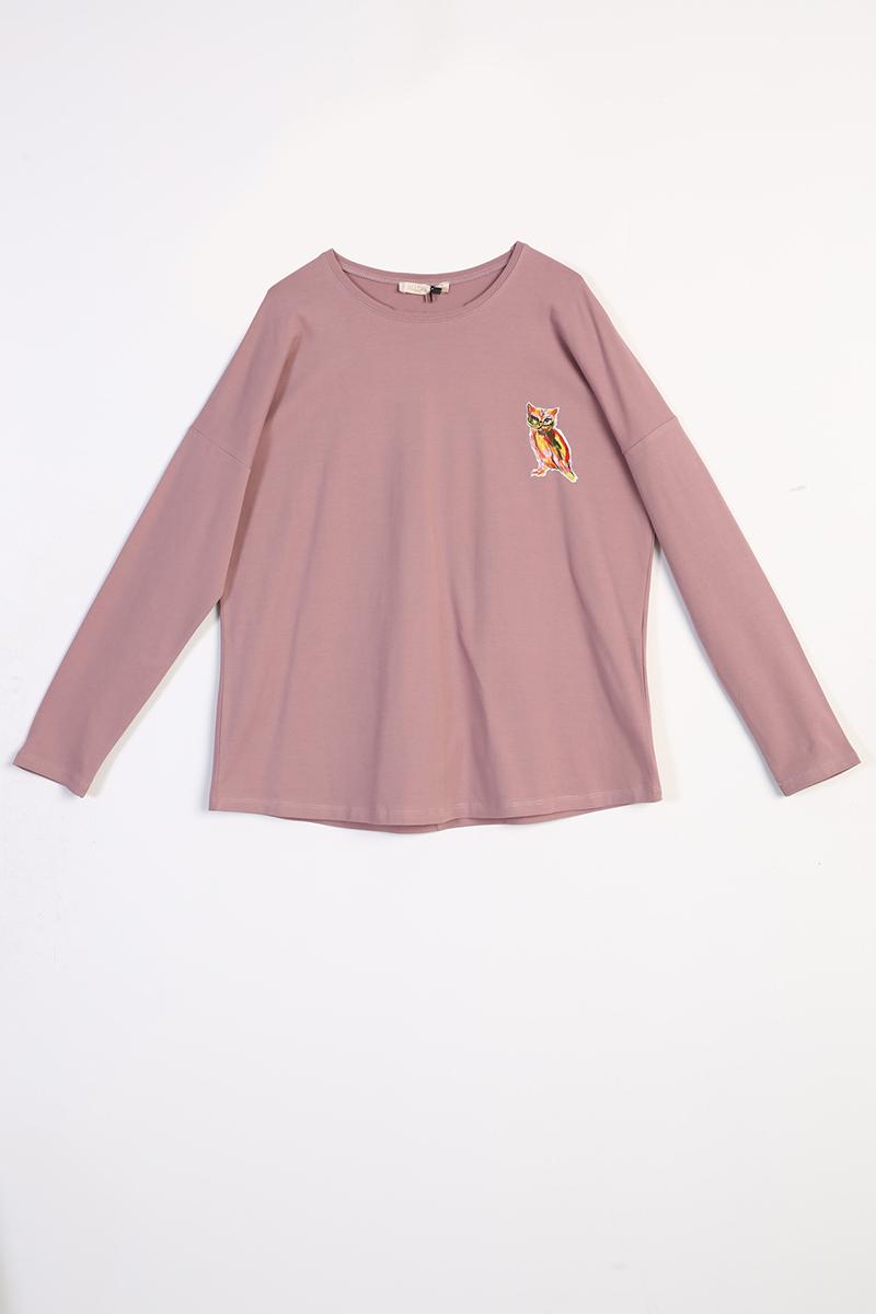 Baykuş Baskılı Uzun Kollu T-Shirt