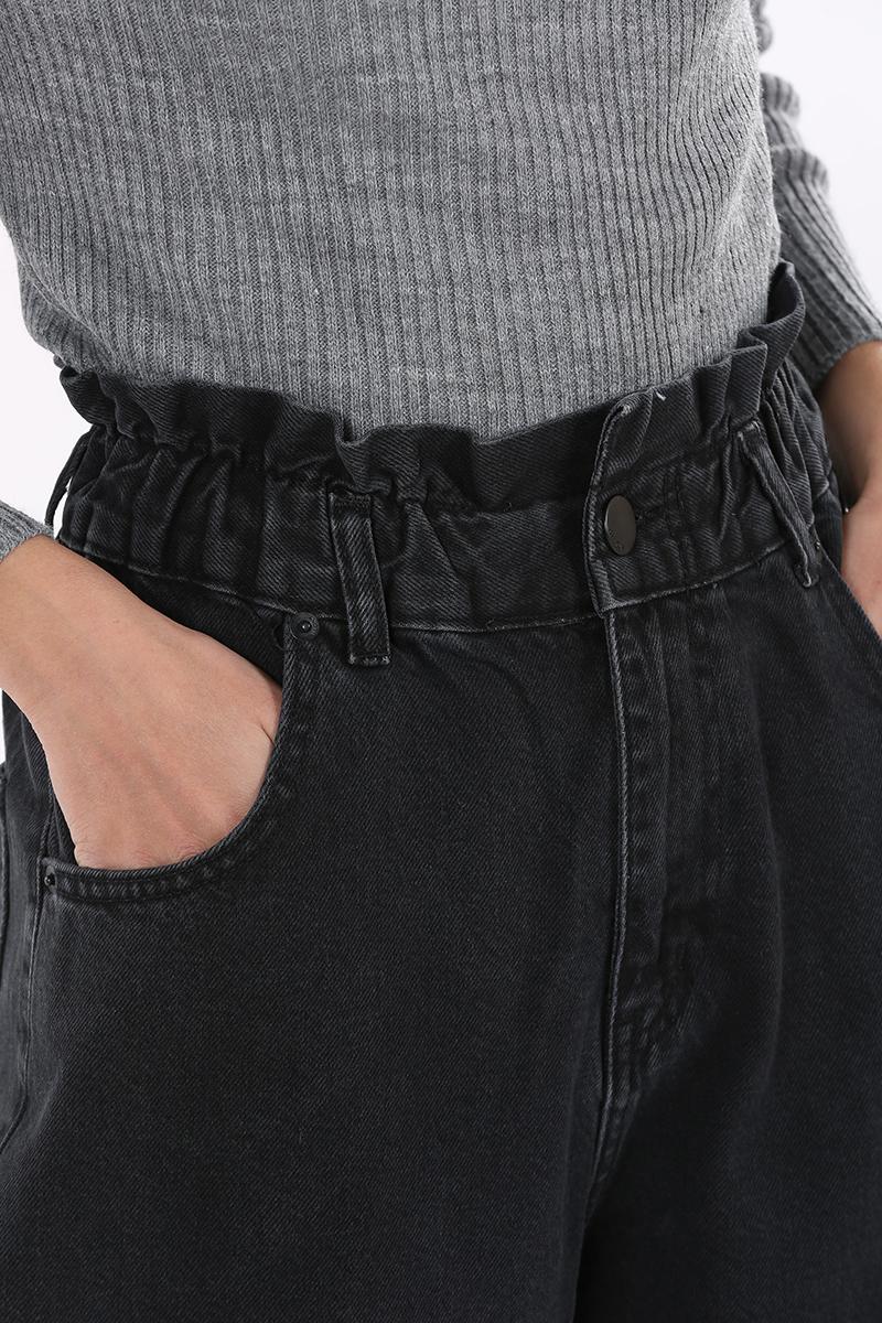 Bel Büzgülü Denim Pantolon
