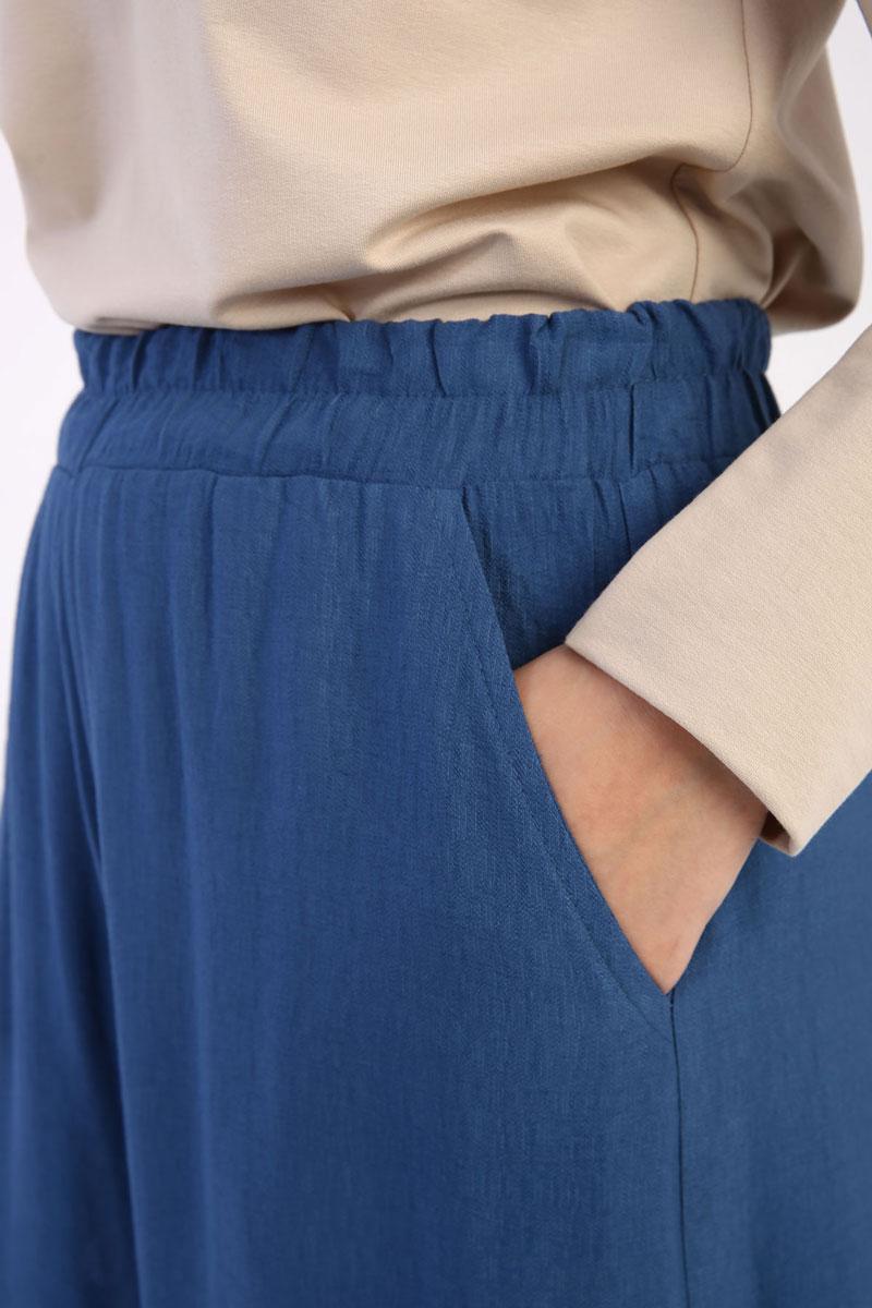 Bel Lastikli Cepli Bol Paça Pantolon