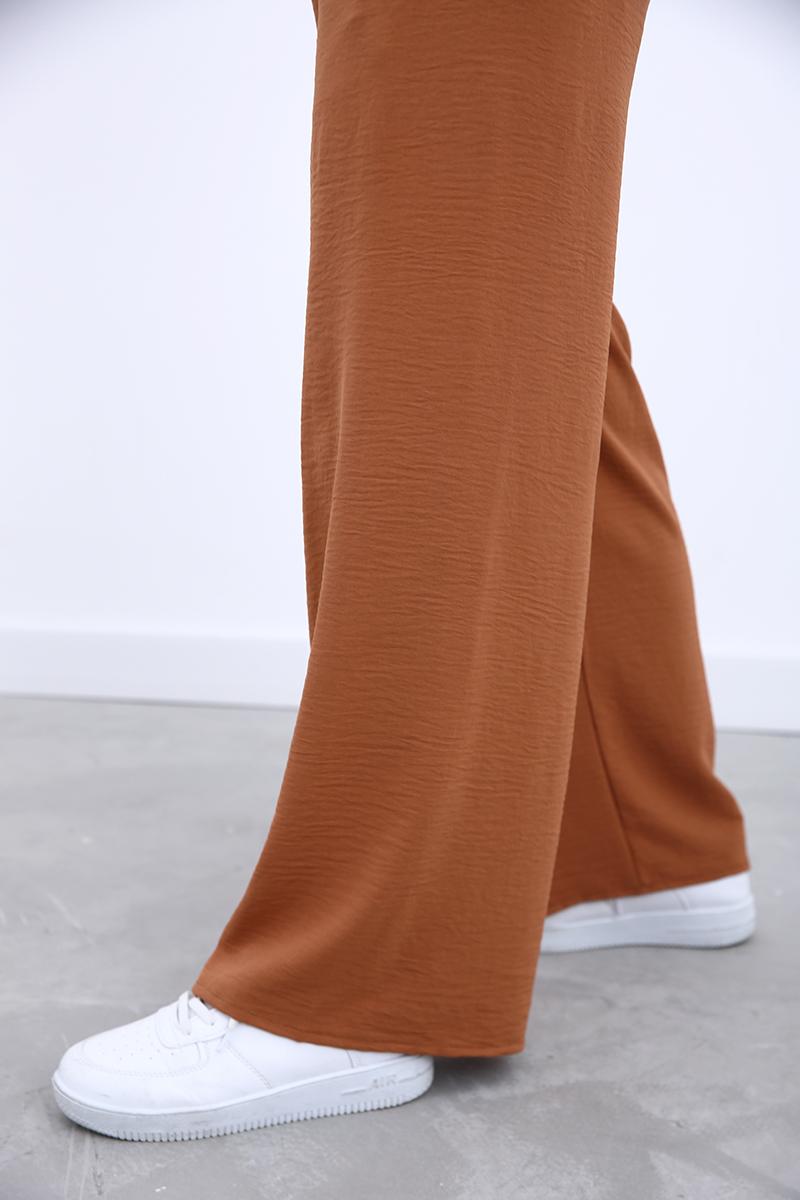 Bel Lastikli Bağcık Detaylı Bol Paça Pantolon