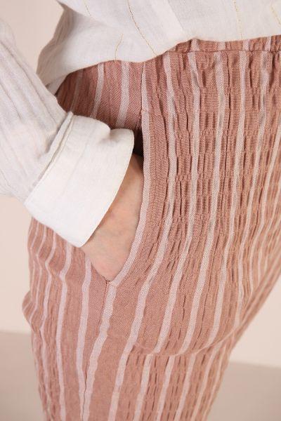 Bel Lastikli Cepli Çizgili Pantolon