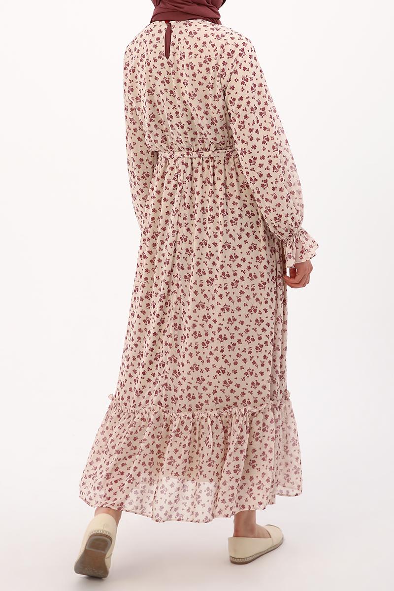 Bel Lastikli Desenli Elbise