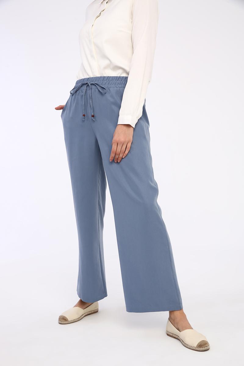 Bel Lastikli Bol Paça Tensel Pantolon