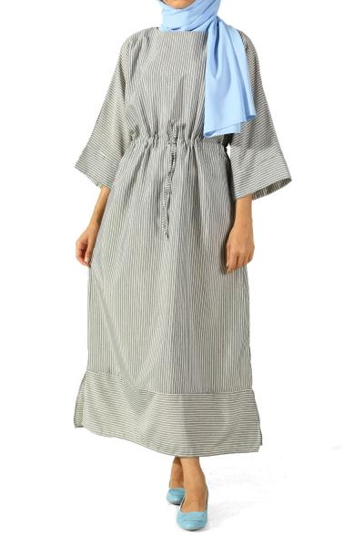 Truvakar Kol Çizgili Bel Bağcıklı Elbise