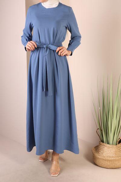 Beli Lastikli Bağcıklı Elbise
