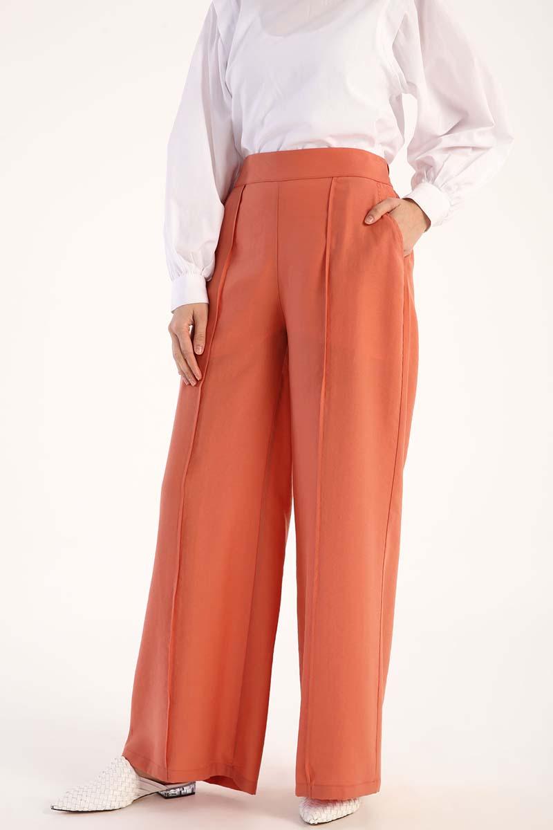 Tensel Beli Lastikli Bol Pantolon