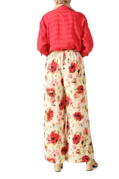 Beli Lastikli Desenli Pantolon