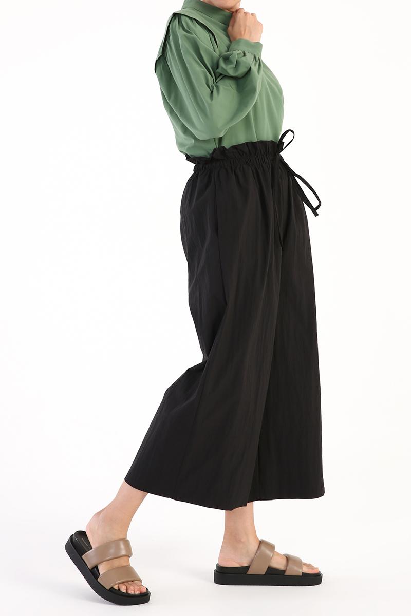 Beli Lastikli Yüksek Bel Krinkıl Pantolon