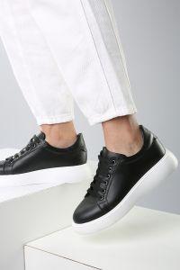 Beyaz Taban Bağcıklı Cilt Spor Ayakkabı