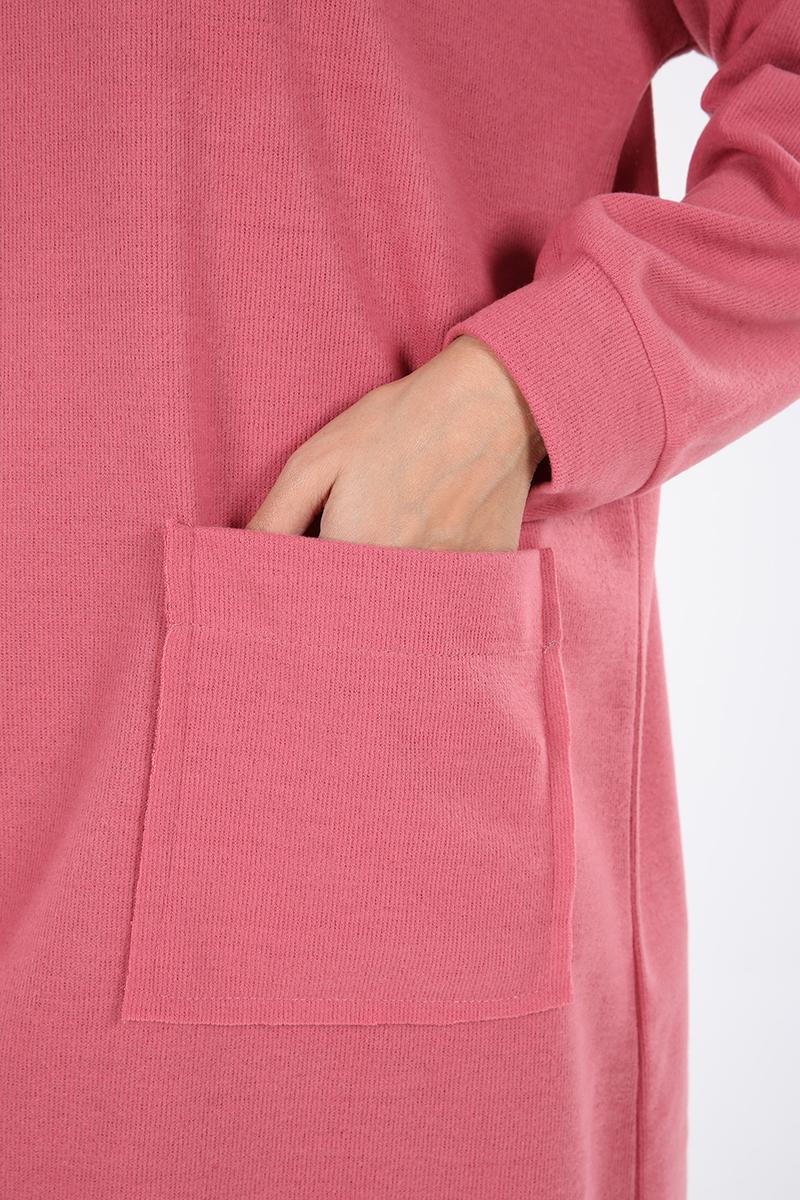 Boğazlı Önü Cep Detaylı Arkası Uzun Sweat Tunik