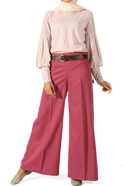 Bol Paça Korsajlı Kemerli Pantolon