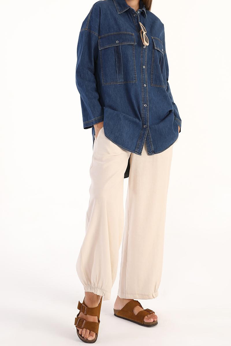 Büyük Cep Detaylı Denim Gömlek Tunik