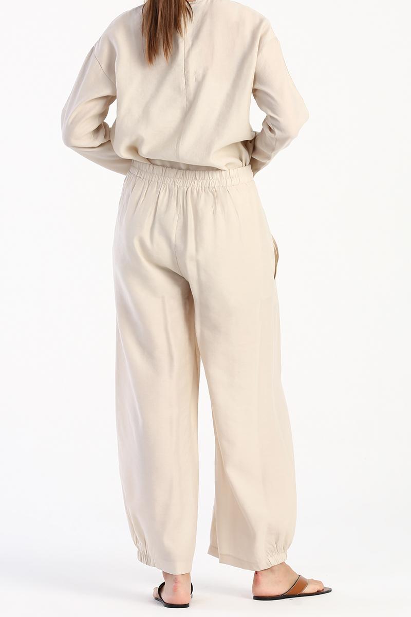 Büyük Cepli Paçası Lastikli Tensel Pantolon