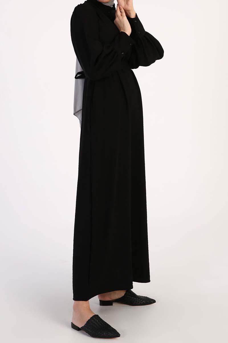 Büzgü Detaylı Kemerli Viskon Elbise
