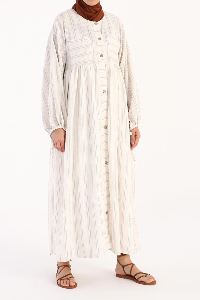 Büzgülü Cep ve Düğme Detaylı Elbise