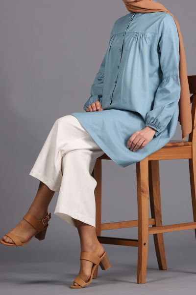 Büzgülü Kloş Düğmeli Gömlek Tunik