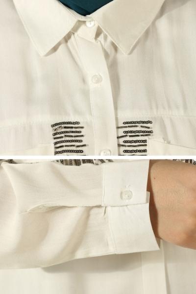 Cep Kenarı Pullu Gömlek Tunik