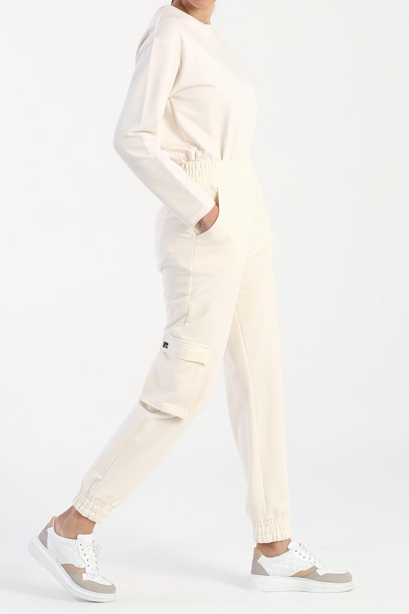 Cepli Beli Lastikli Kargo Pantolon