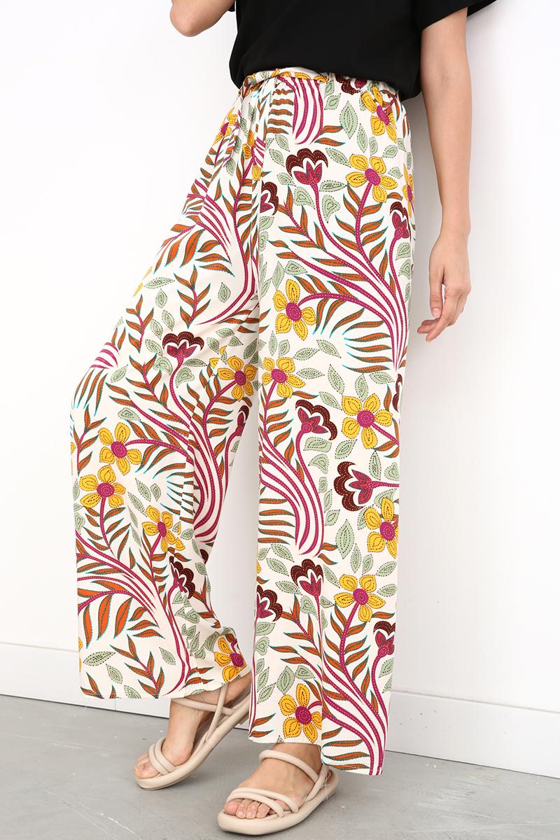 Çiçek Desenli Beli Lastikli Viskon Bol Pantolon