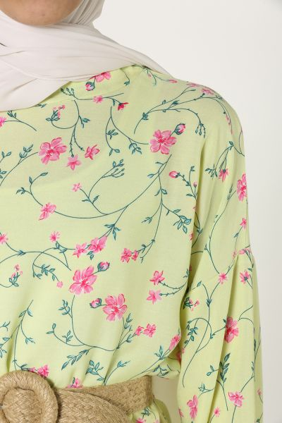 Çiçek Desenli Eteği Fırfırlı Elbise