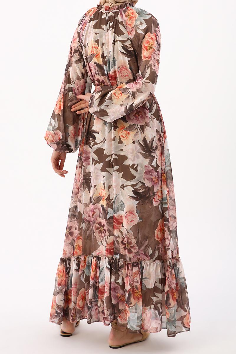 Çiçek Desenli Şifon Elbise