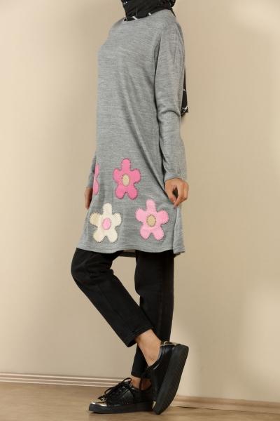 Çiçekli Triko Tunik