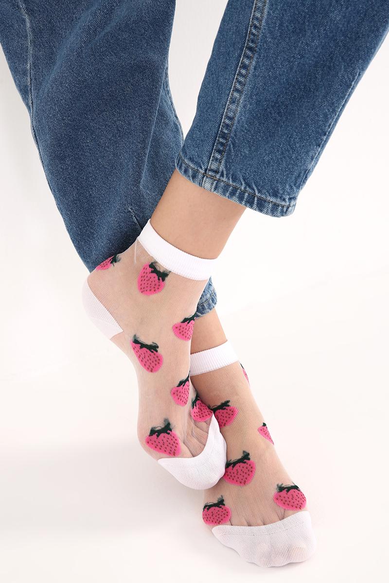 Çilek Desenli Tül Soket Çorap