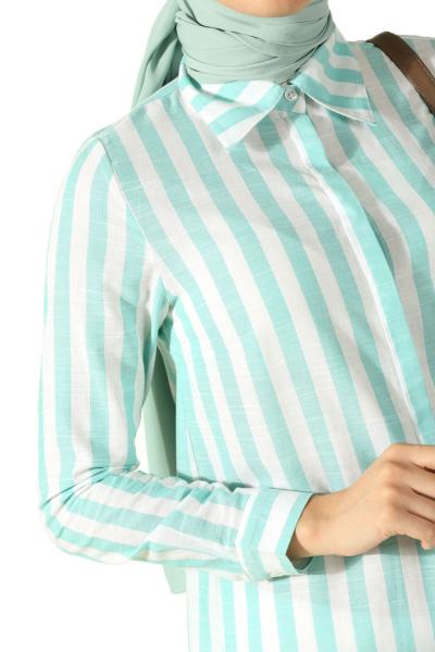 Çizgili Gizli Patlı Gömlek Tunik
