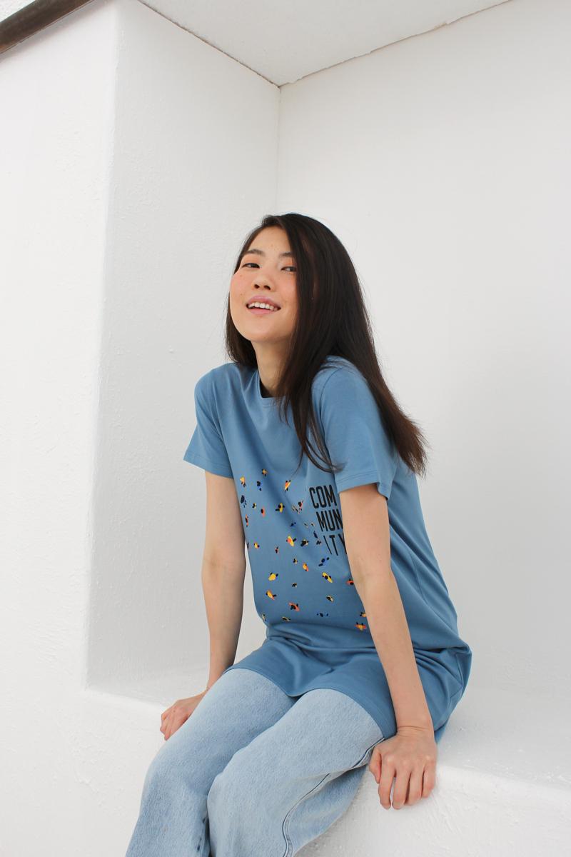 Community Baskılı Kısa Kollu T-Shirt Tunik
