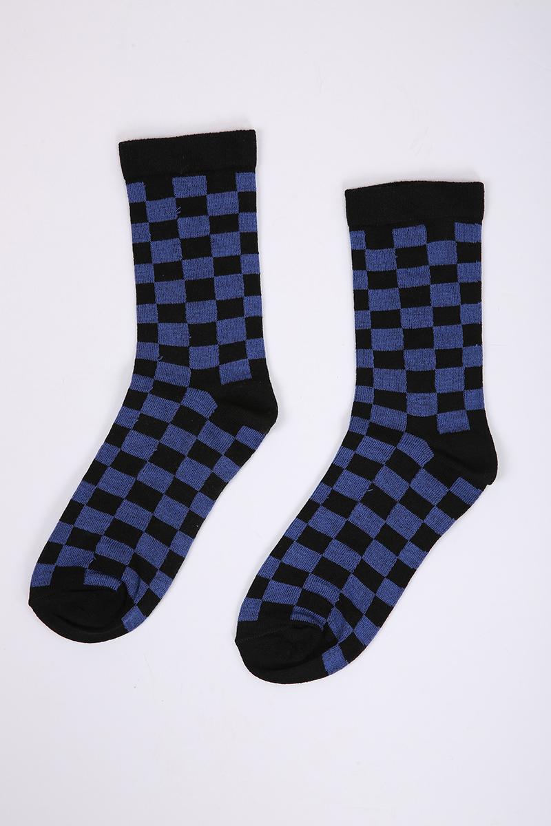 Dama Desenli Kolej Çorabı