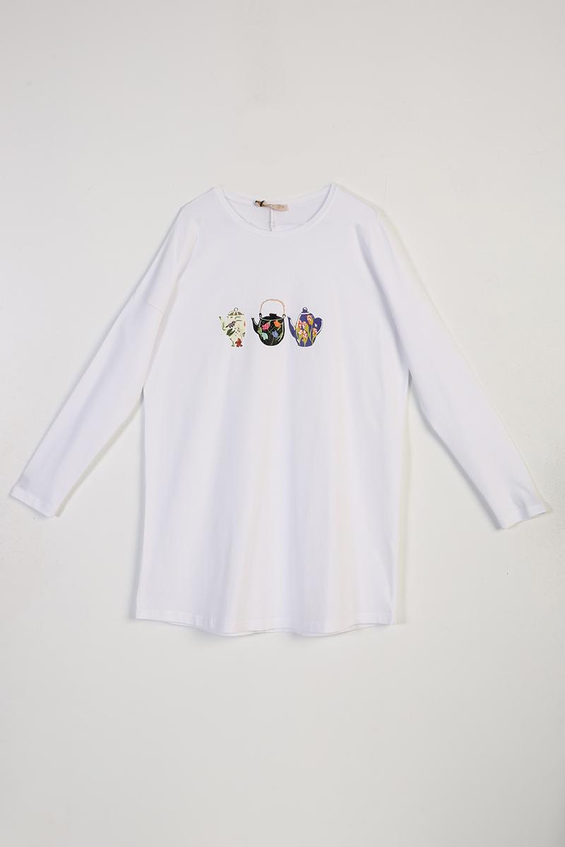Demlik Baskılı Uzun Kollu T-Shirt Tunik