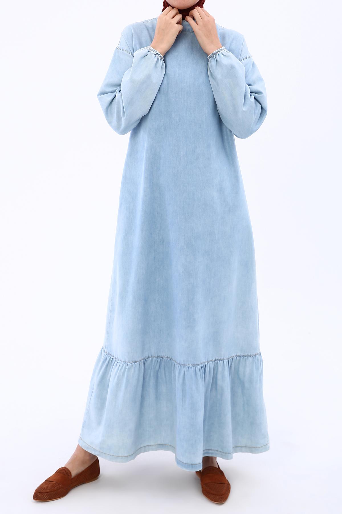 Eteği Fırfırlı Arka Yakası Düğmeli Denim Elbise