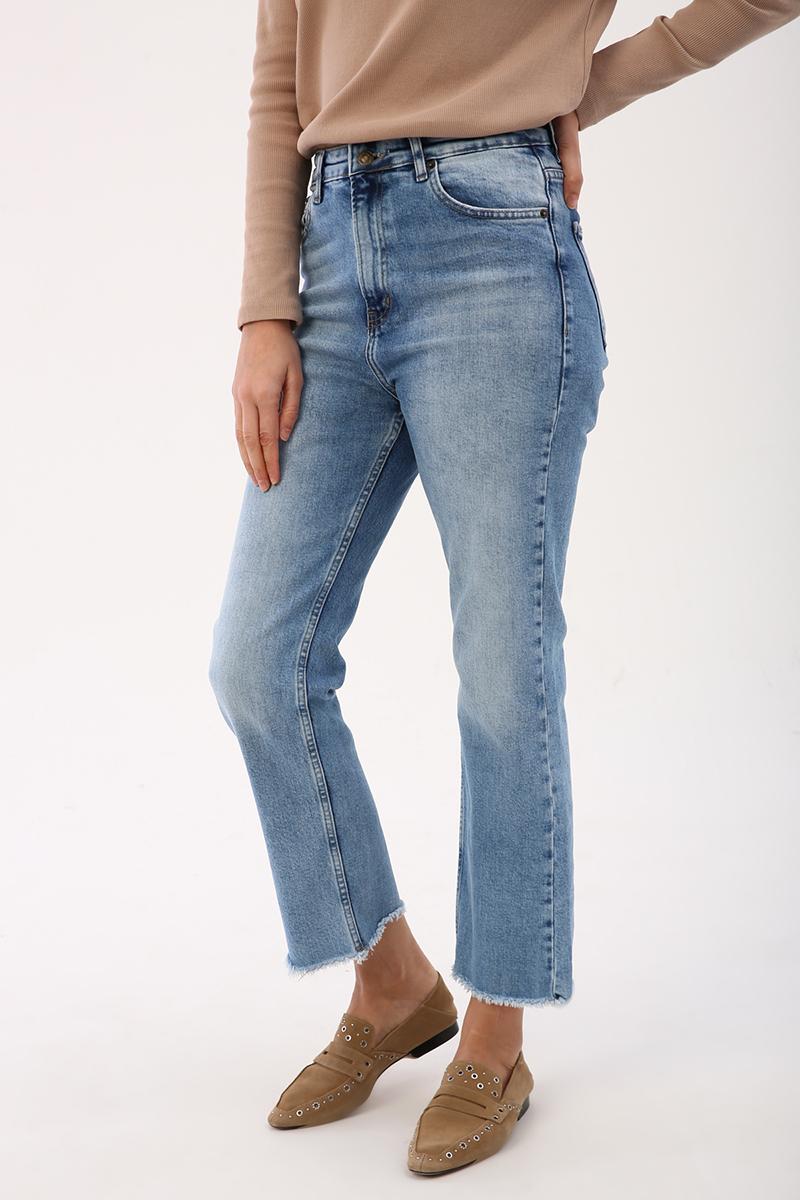 Denim Püskül Detaylı Pantolon