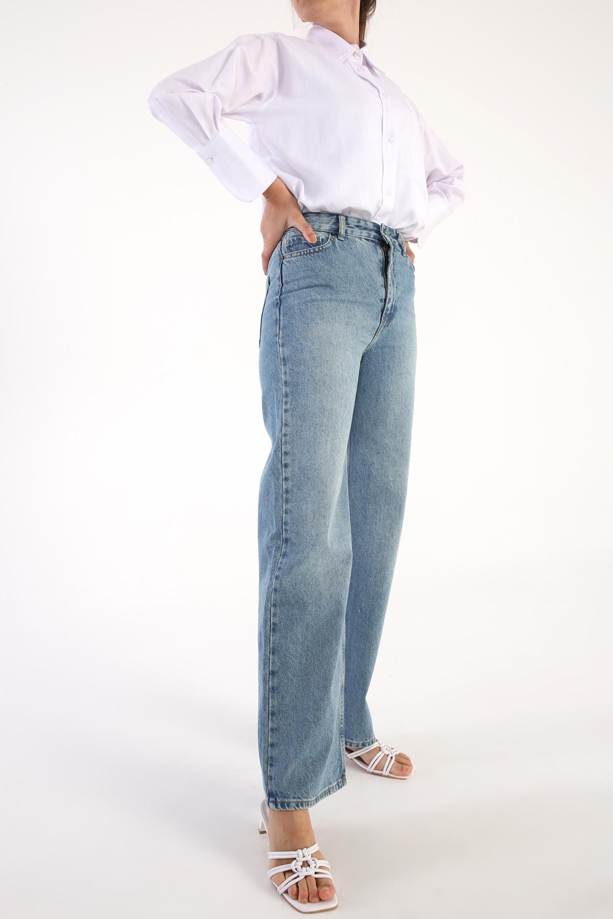 Yüksek Bel Denim Pantolon