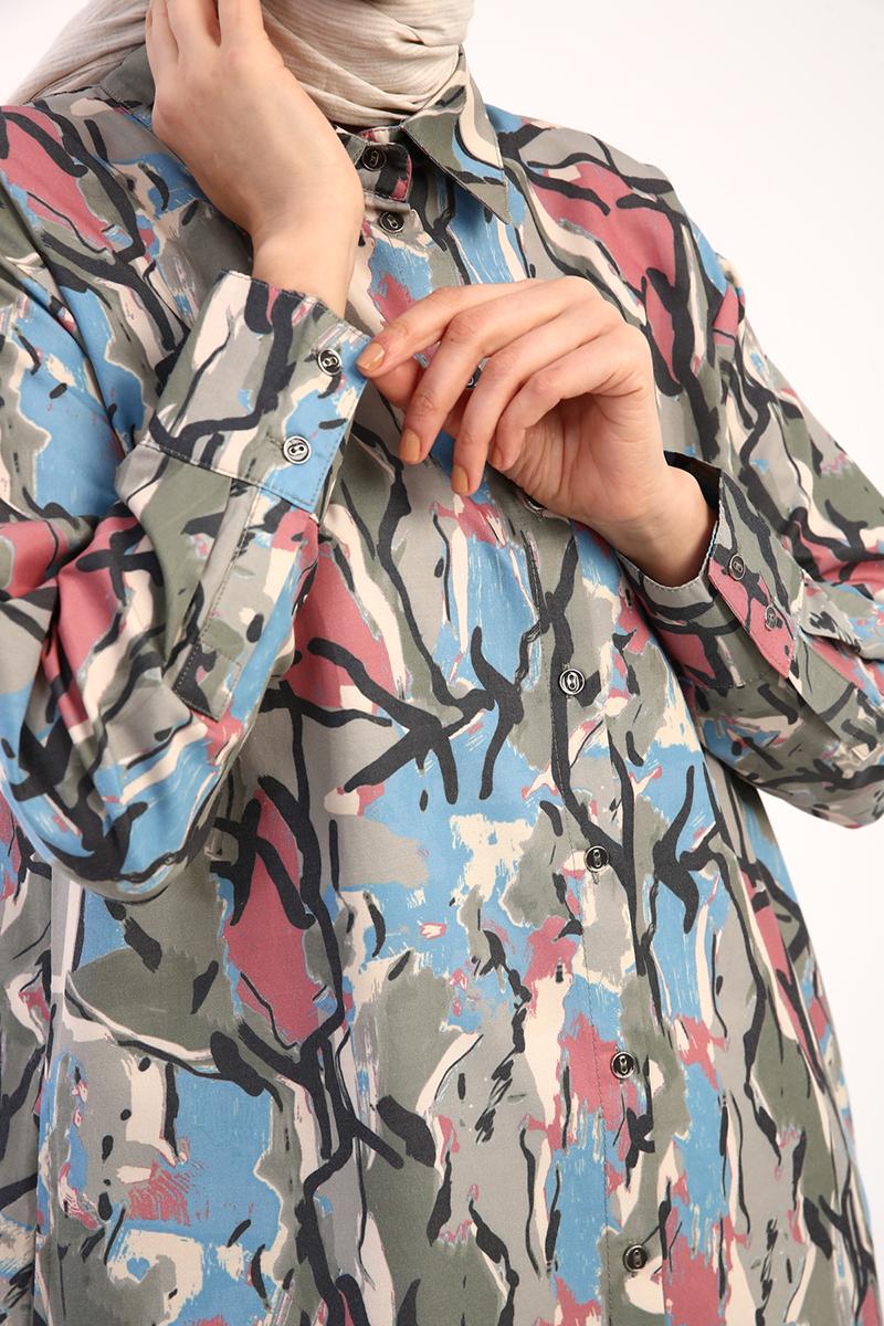Cepli Desenli Gömlek Tunik