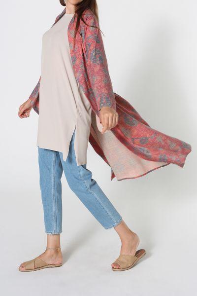 Desenli Kuşaklı Kimono