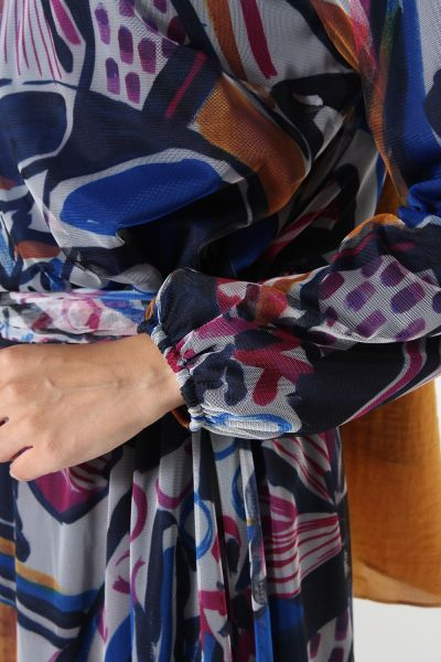 Desenli Kuşaklı Elbise