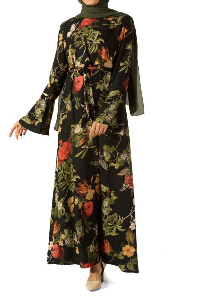 Viskon Çiçek Desenli Kuşaklı Elbise
