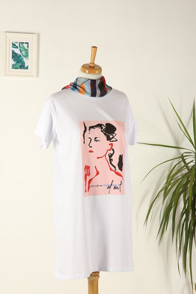 Pamuklu Baskılı Kısa Kollu T-Shirt